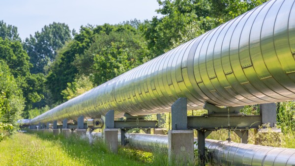 Huge metal gas pipeline transporting gas
