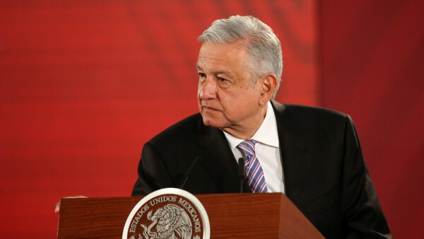 Mexico's President Andres Manuel Lopez Obrador holds a news conference at the National Palace in Mexico City
