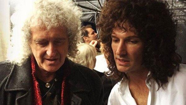 Brian May y Gwilym Lee durante la filmación de 'Bohemian Rhapsody' (Cortesía)