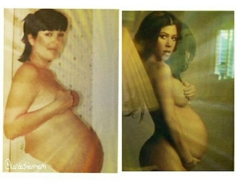 Como homenaje a su madre, la socialité posó como lo hiciera Kris hace algunos años cuando también estaba embarazada.