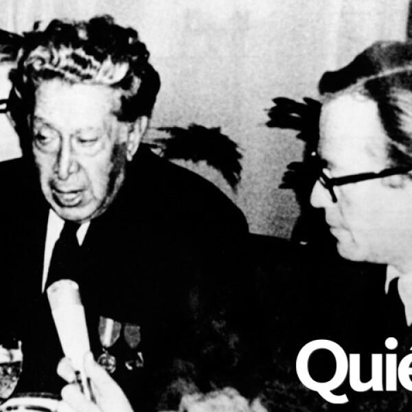 En 1967 con David Alfaro Siqueiros en Leningrado durante la celebración de los 50 años de la Revoluciñon Bolchevique.
