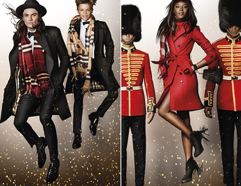 Romeo Beckham y Naomi Campbell para Burberry.