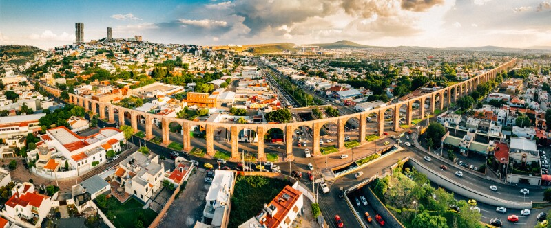 Panoramic Aerial View of Santiago de Queretaro Mexico