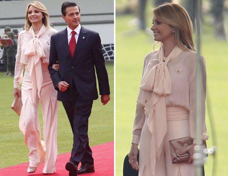 Angélica Rivera optó por un total look del diseñador mexicano Alejandro Carlín y joyería del también mexicano Daniel Espinosa.