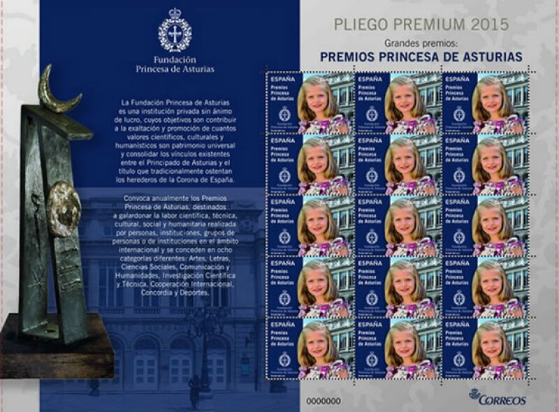 En el sello aparece una imagen de Leonor y del Teatro Campoamor de Oviedo, donde se lleva a cabo la entrega de premios.