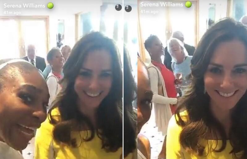 En su visita al torneo de Wimbledon, la duquesa de Cambridge estuvo con Serena Williams, quien aprovechó para snapchatear con ella.