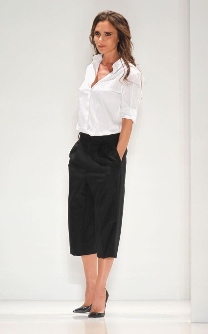 Victoria Beckham durante la presentación de su nueva colección.