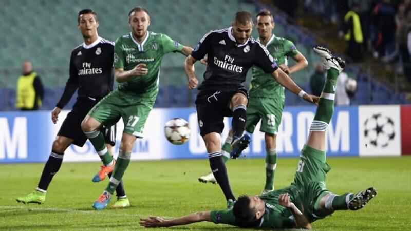 El francés Karim Benzema logró marcar el gol del triunfo de Real Madrid ante el Ludogorets