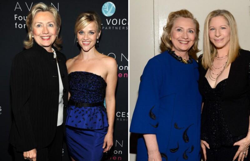 La candidata a la presidencia estadounidense cuenta con el apoyo de Reese Witherspoon y Barbra Streisand.