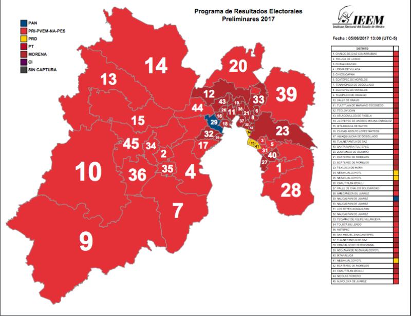 El mapa electoral de Edomex