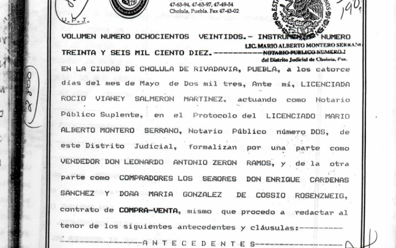 Escritura de Enrique Cárdenas