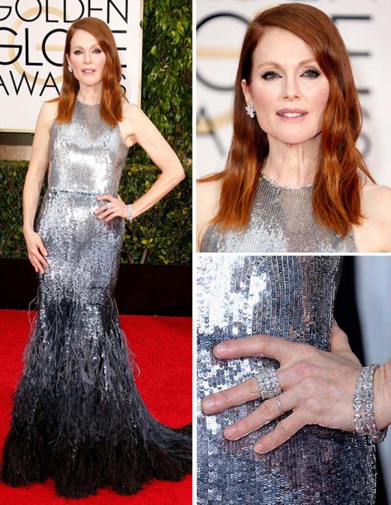 La actriz combinó el look perfecto y un gran premio, convirtiéndose en el brillo de los Golden Globes.
