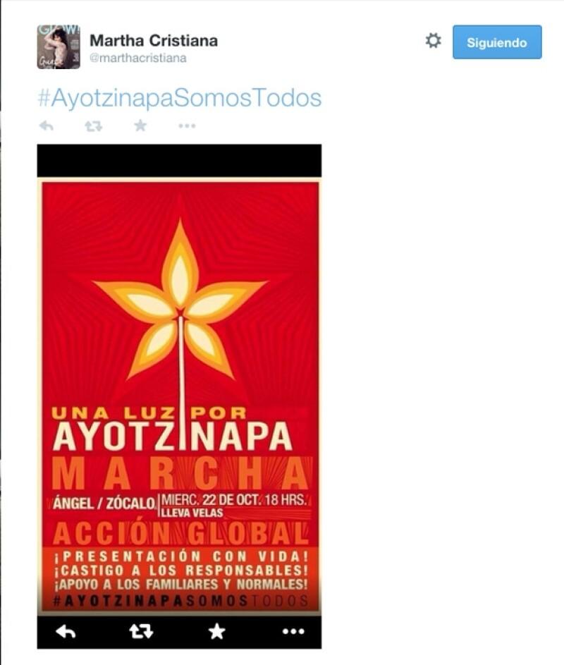 La actriz Martha Cristiana convocó a la movilización desde sus redes sociales.
