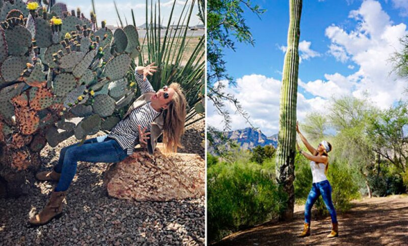 La cantante disfrutó bastante tanto de los cactus, como de los nopales.