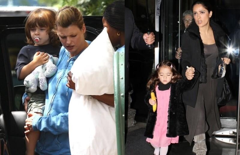 Aquí Linda con su pequeño Augustine en 2009, a la derecha Salma y Valentina hace unos días.