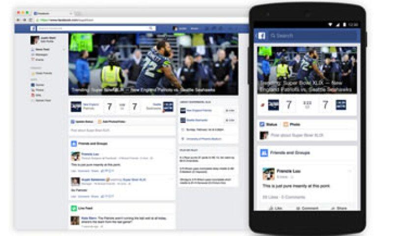 Los usuarios de Facebook tendrán acceso a información de los equipos que disputan el Super Bowl. (Foto: Tomada de newsroom.fb.com )