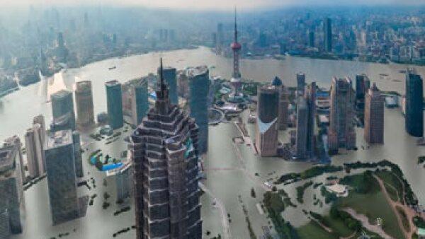 Así se vería Shangái si las temperaturas aumentan cuatro grados, según pronósticos de expertos en el cambio climático (Foto: CNN Español)