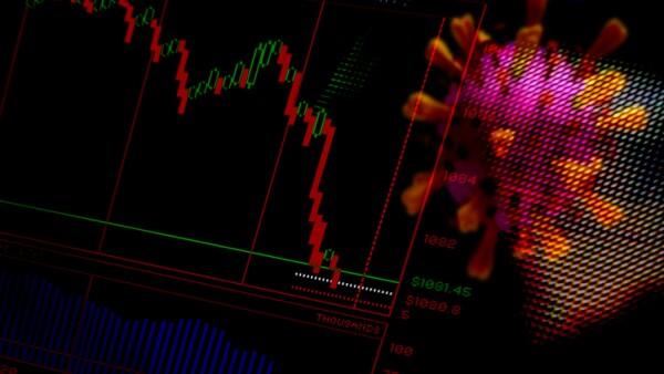Financial Crash. Trading screen and Corona virus. Abstract image.
