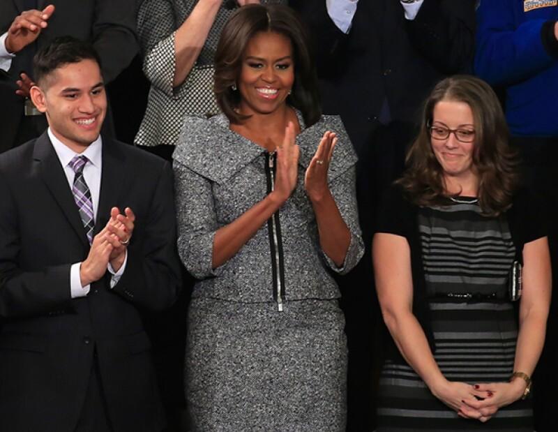 """La primera dama llevó un diseño Michael Kors al discurso del """"Estado de la Unión""""."""
