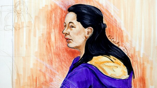 A sketch of Huawei Technologies Co Chief Financial Officer Meng Wanzhou during a hearing at the B.C. Supreme Court in Vancouver
