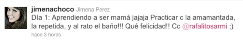 La Choco compartió en la red social cómo ha sido su primer día como mamá.