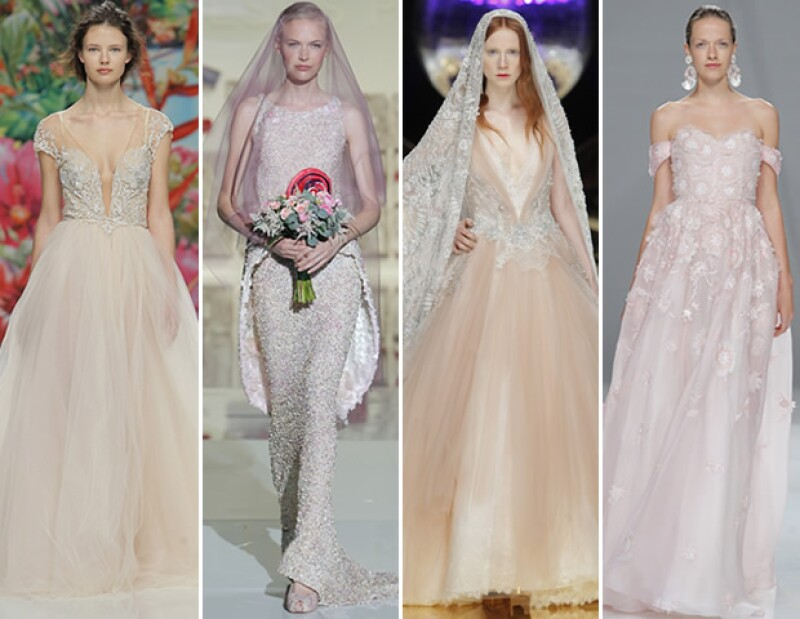 Los vestidos con toques rosas o total look en este tono es de los más presentes en pasarela. En foto las propuestas de Galia Lahav, Jesús Peiró, Yolan Cris, Naeem Khan.