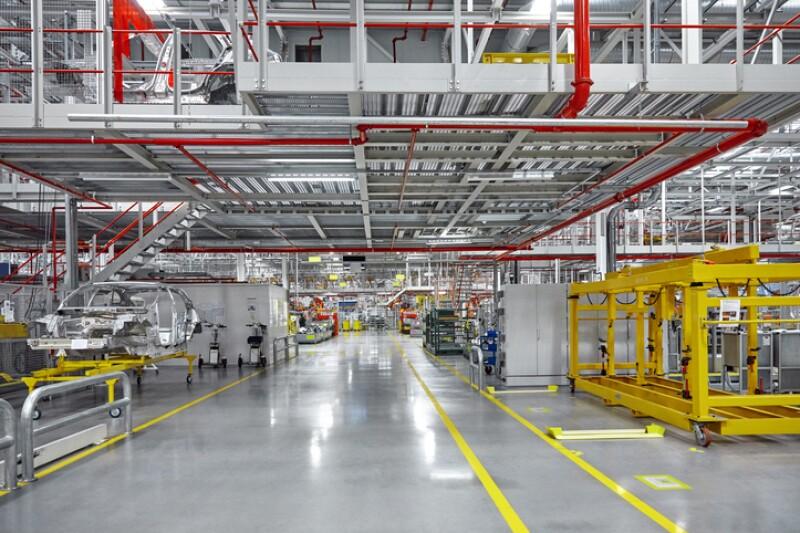 Empty walkway of automobile industry