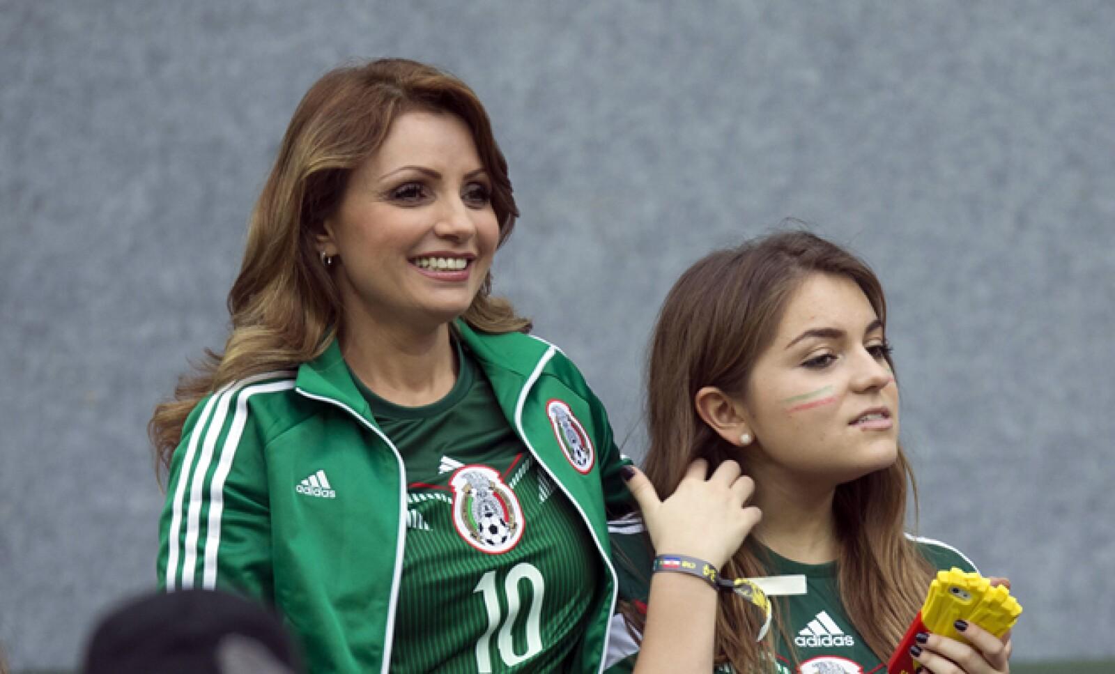 "Angélica Rivera ""La Gaviota"" voló hasta Recife para presenciar el tercer partido de México en el mundial."