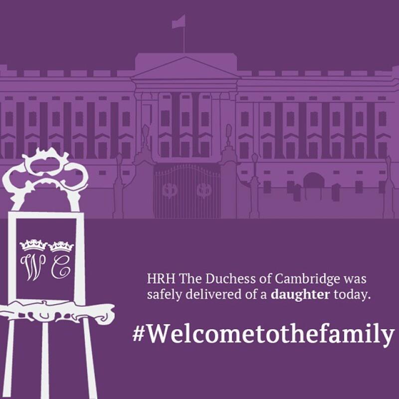 Esta fue la primer imagen compartida tanto en Twitter como en Instagram en la que se anunciaba el nacimiento de la bebé de Kate y el príncipe William.