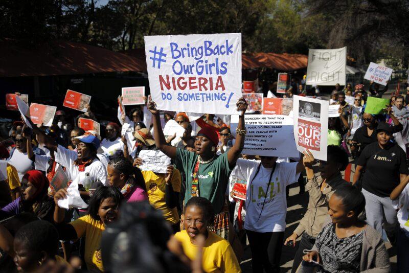 Tras el secuestro de las niñas, se realizaron protestas en el mundo para exigir su devolución con vida.