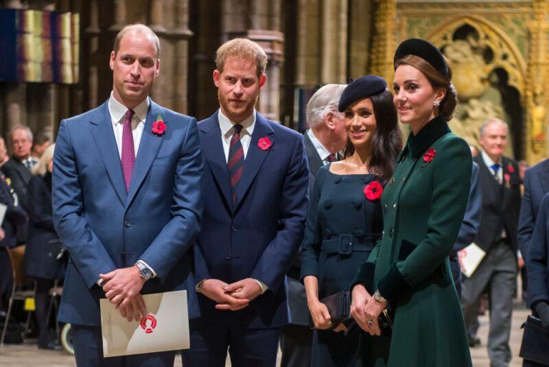 Príncipe William, príncipe Harry, Meghan Markle y Kate Middleton