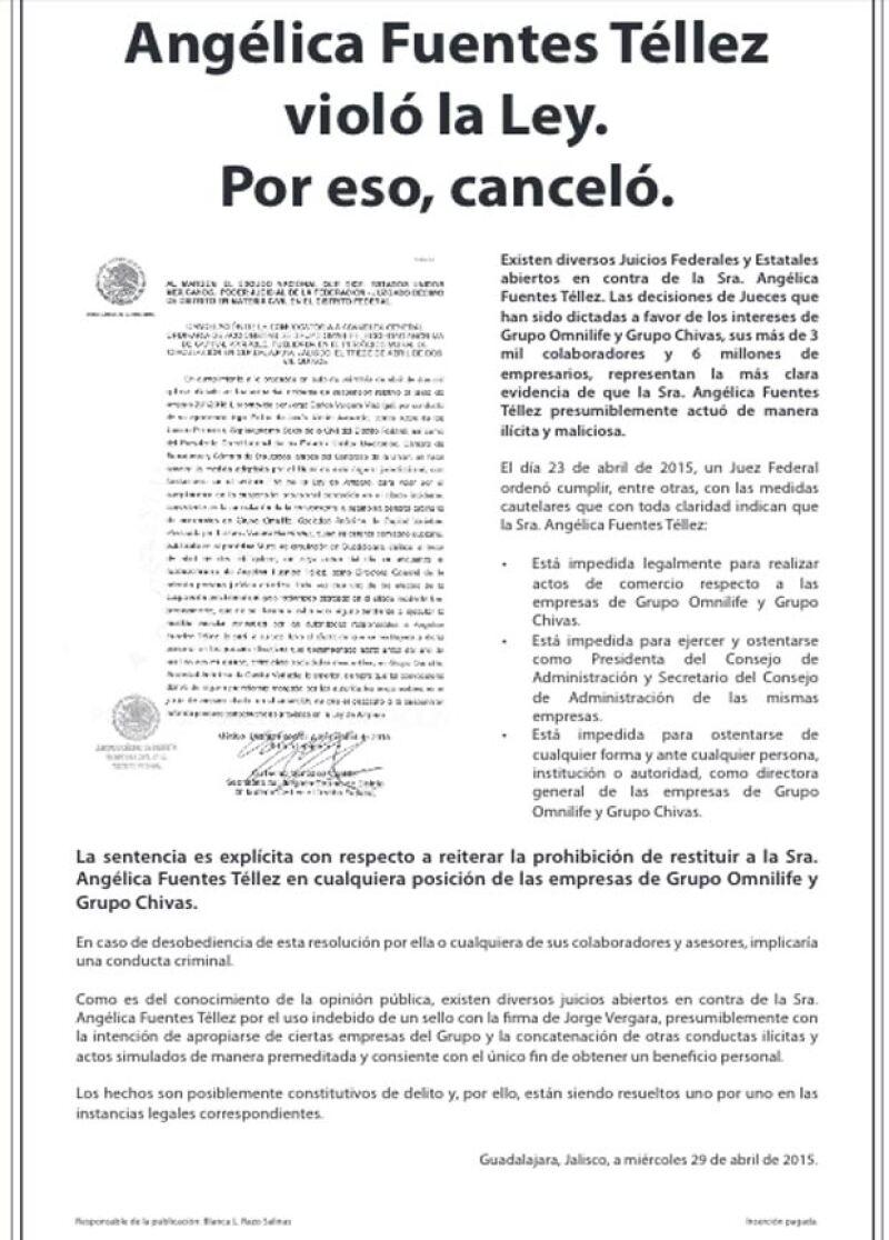 Este es el desplegado, publicado hoy en medios impresos, que asegura que la empresaria enfrenta diversos juicios.