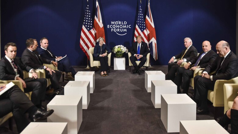 US President Donald Trump (C-R) and Britain's Prime Minister Theresa May