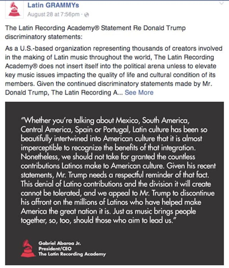 La academia de premiaciones lanzó un comunicado en sus redes sociales.