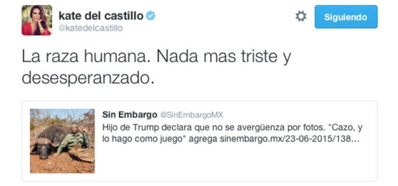 Fue a través de Twitter que la actriz mexicana descalificó las actividades del hijo del empresario.