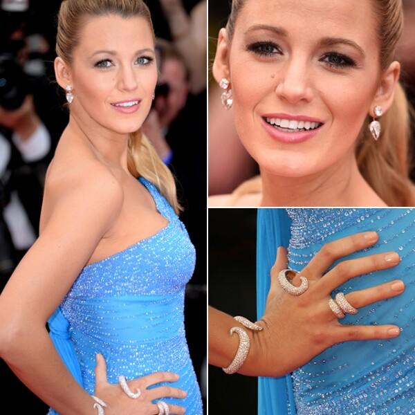 La actriz Blake Lively llevó aretes de Lorraine Schwartz para la premiere de `The BFG´.