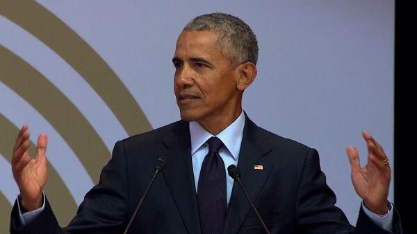 """""""Creo en la visión de Nelson Mandela"""", dice Barack Obama en acto multitudinario"""