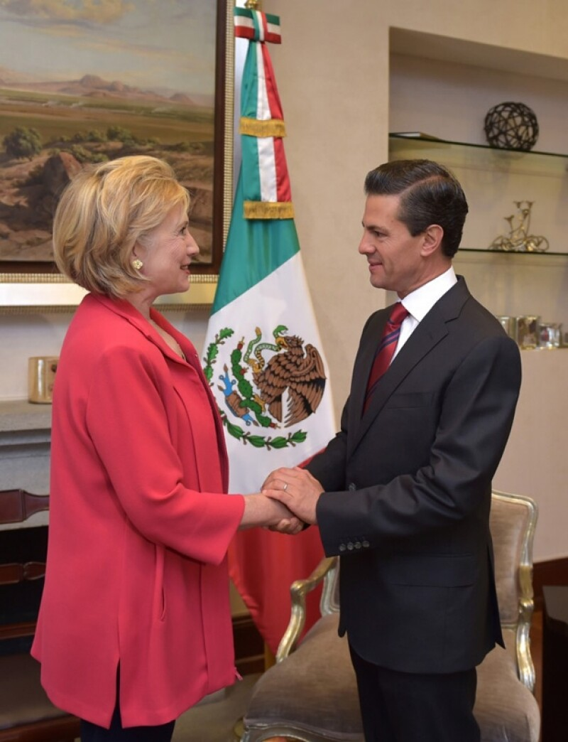 Enrique Peña recibió cordialmente a la política estadounidense.
