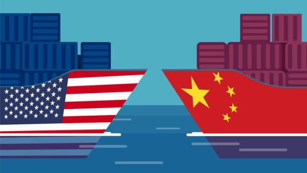 China and United States trade war concept. Vector of two cargo ships.