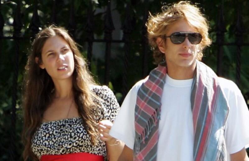 Aquí con su novio Andrea Casiraghi.