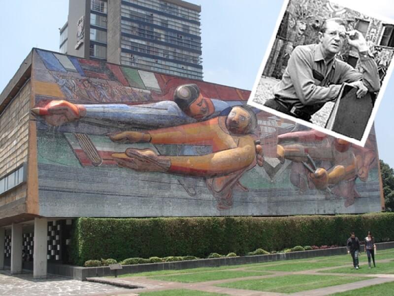 En la Biblioteca Central de la UNAM destaca la composición artística del arquitecto.