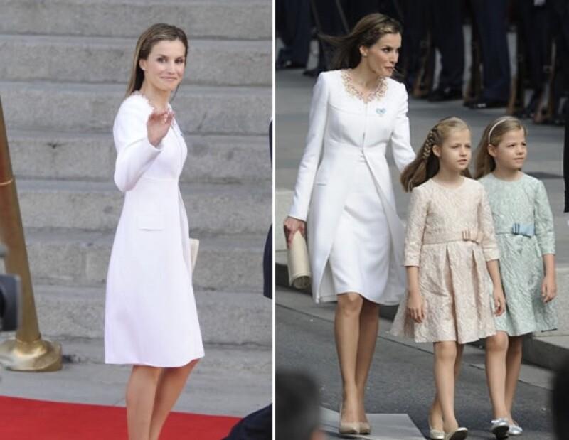 En la proclamación del Rey de España, Letizia lució un sencillo pero siempre elegante look.