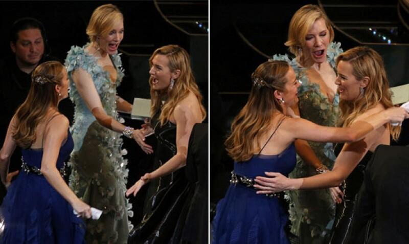 Según insiders dijeron a TMZ que en realidad Brie y Cate solo estaban emocionadas por la tela del vestido de Kate.