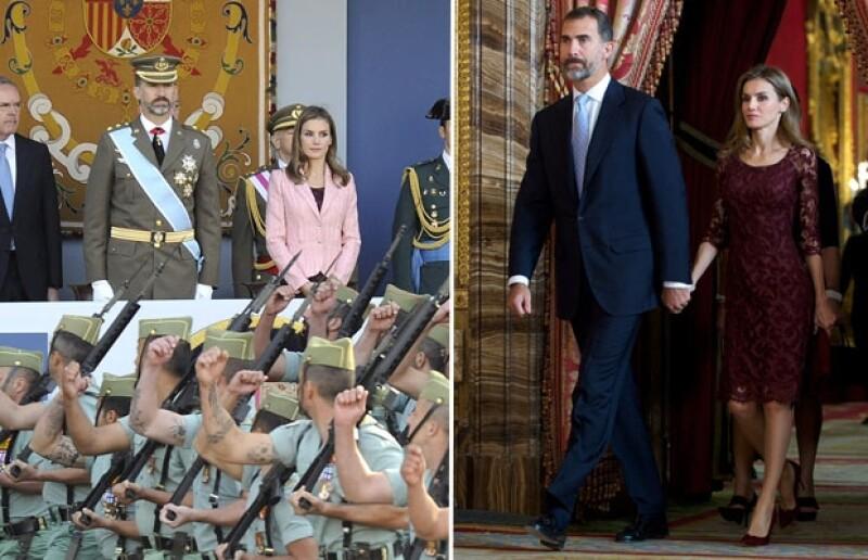 La princesa volvió a elegir una prenda de uno de sus diseñadores consentidos: Felipe Varela. Su outfit estuvo compuesto por un vestido de encaje en color  granada que combinó con una chaqueta de lana.