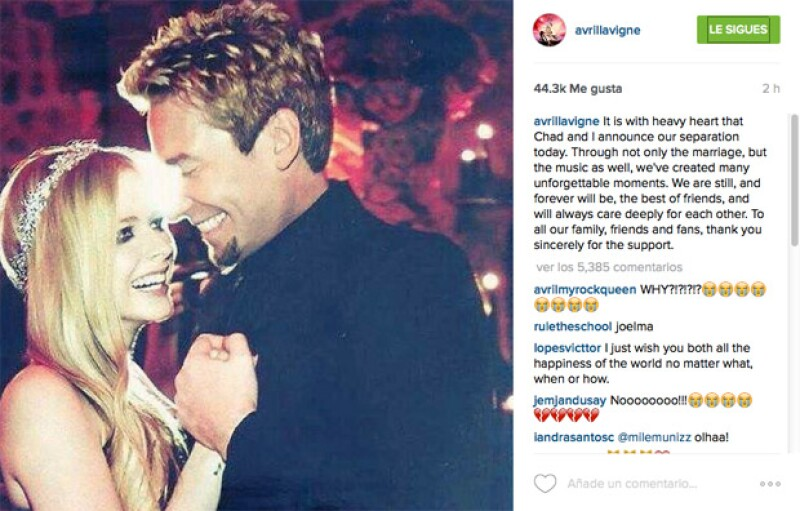 Con esta imagen, Avril anunció su separación de Chad en septiembre del año pasado después de 2 años de matrimonio.