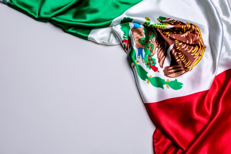 Authentic flag of the Mexico