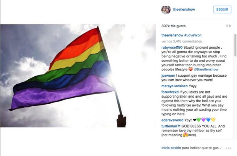 Ellen, al igual que otras celebridades, publicaron en su Instagram varias imágenes con discursos alentadores.