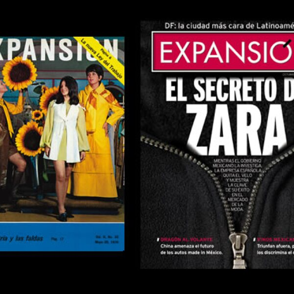El negocio de la industria del vestido ha sido abordado en el escaparate de Expansión sin restringirse a lo superficial. Como ejemplo, estas portadas de mayo de 1970 y octubre de 2003.