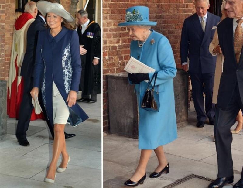 La reina y Carole también usaron el azul en diferentes tonos.