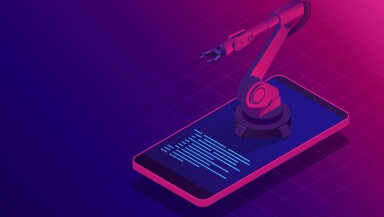 Isometric artificial intelligence. Chat bot and future marketing. AI and business IOT concept. Mans and women chatting with chatbot application. Dialog help service. Vector illustration